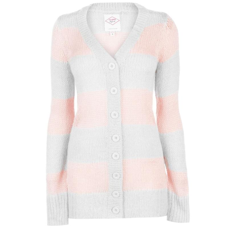 Svetr Lee Cooper Essential Stripe Cardigan Ladies GreyM/DuskyPnk