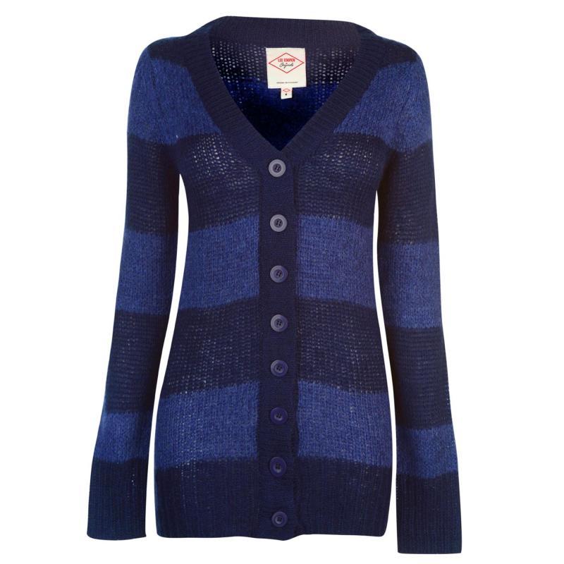 Svetr Lee Cooper Essential Stripe Cardigan Ladies Navy/Denim Marl