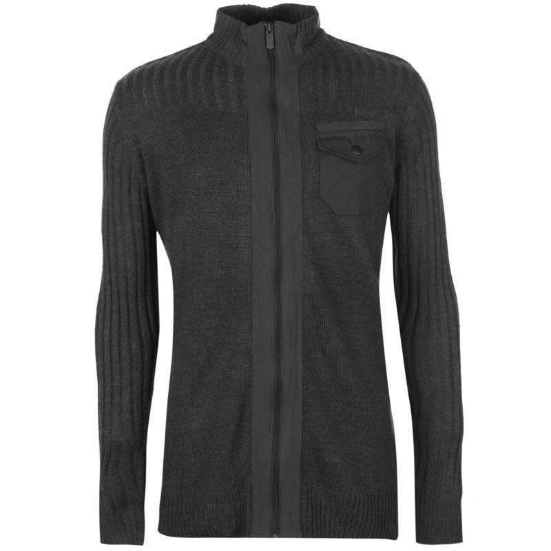 Lee Cooper Knitted Zip Sweatshirt Mens Charcoal Marl