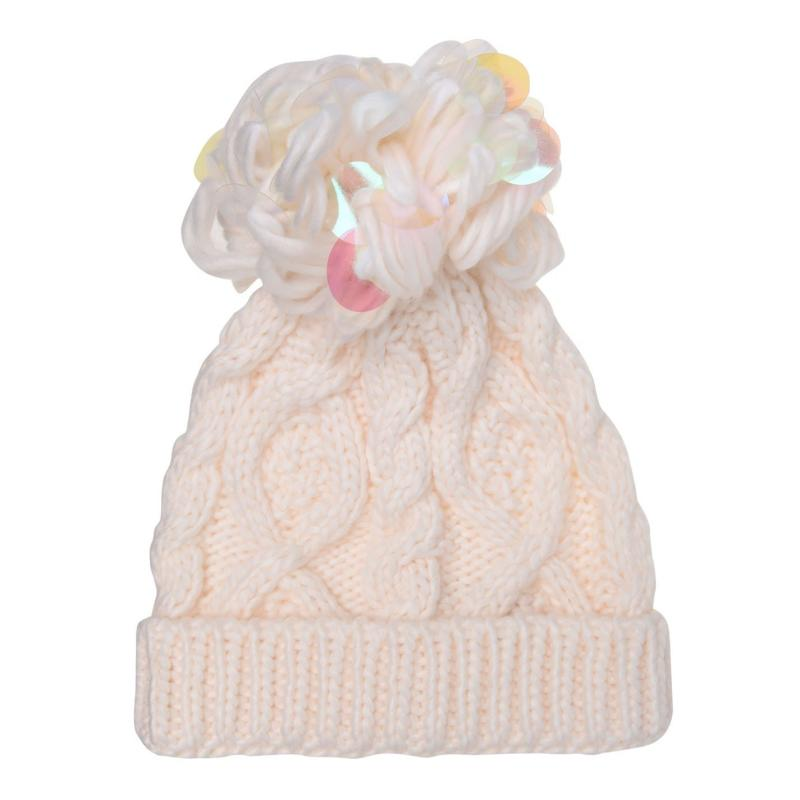 Crafted Essentials Cable Pompom Hat Junior Girls Cream Pom Disc