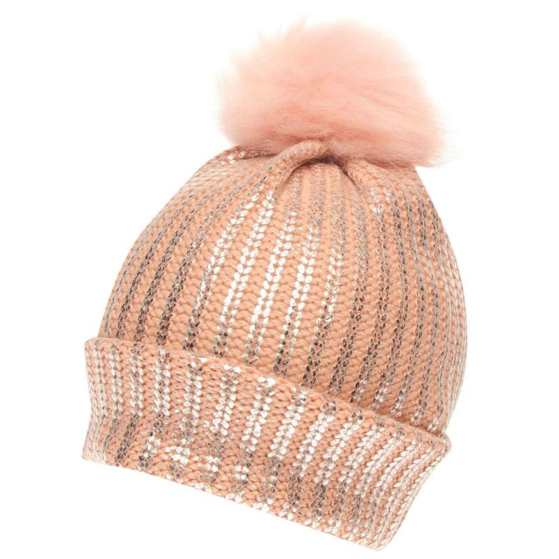 Crafted Essentials Foil Pompom Hat Junior Girls Grey/Foil Pom