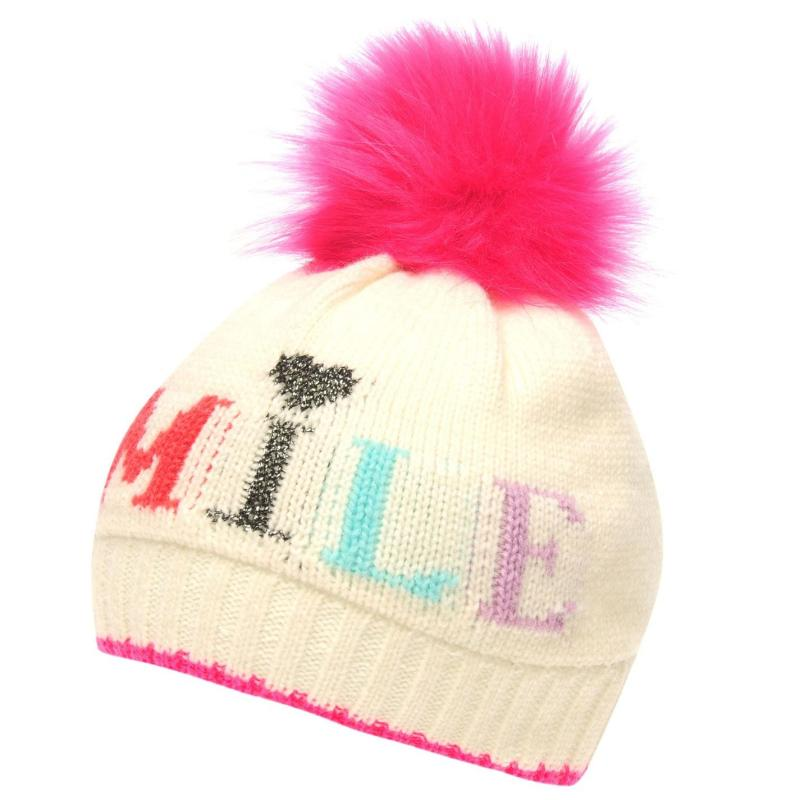 Crafted Essentials Slogan Hat Child Girls Cream Smile