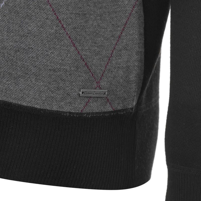Pierre Cardin Argyle Crew Knit Mens Black