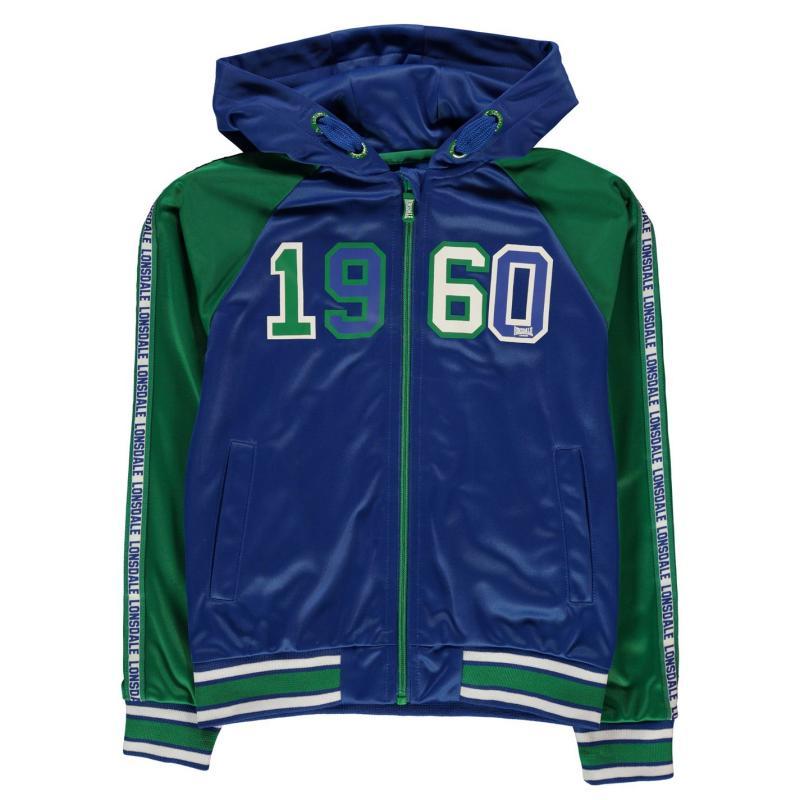 Tepláky Lonsdale Hooded Track Jacket Junior Boys Nvy/Grn