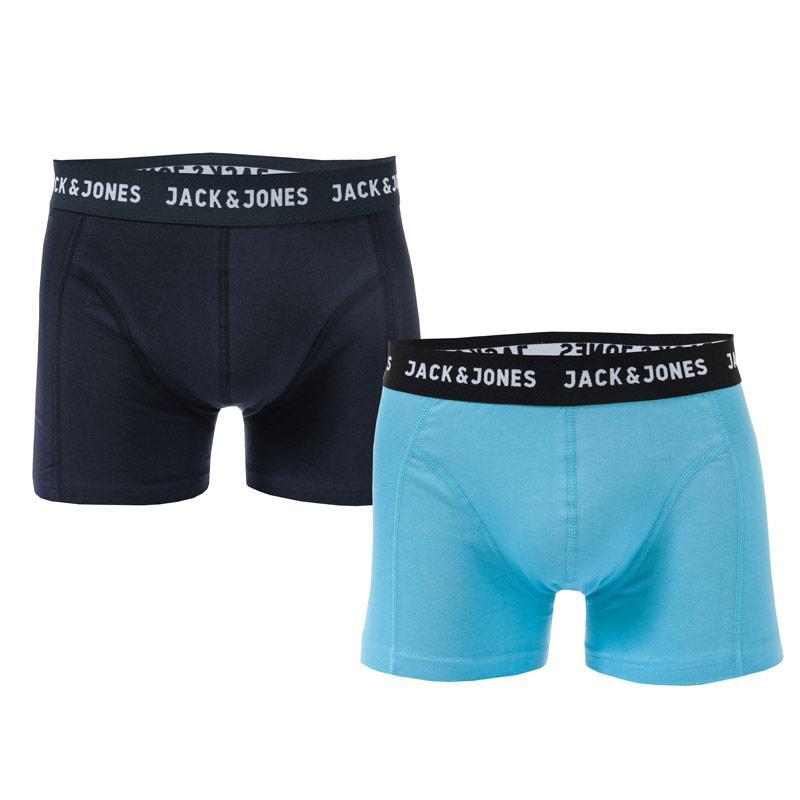 Spodní prádlo Jack Jones Mens Bear 2 Pack Boxer Shorts Navy Grey