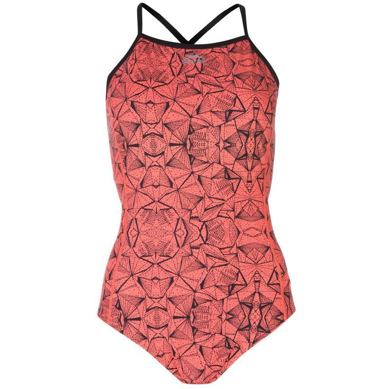 Plavky Slazenger Boundback Swimsuit Ladies Coral