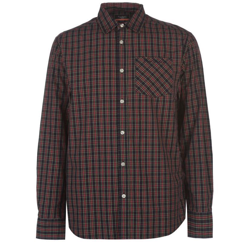 Pierre Cardin Tartan Check Long Sleeve Shirt Mens Navy/Red/Grn