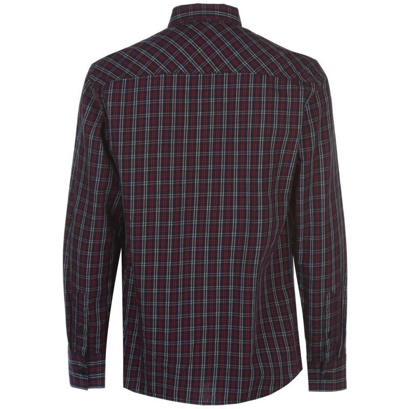 Pierre Cardin Tartan Check Long Sleeve Shirt Mens Navy/Red/Wht