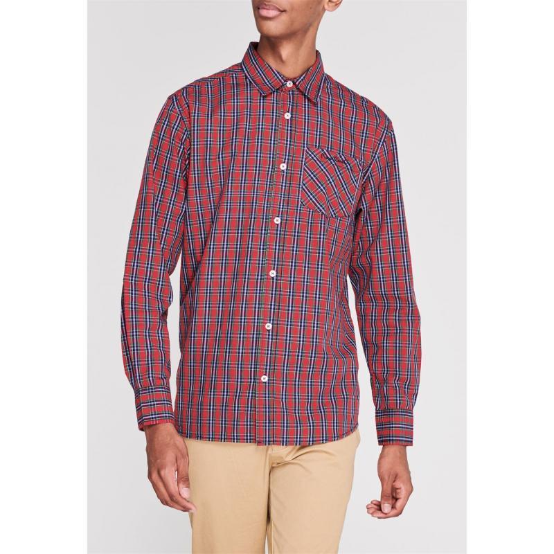 Pierre Cardin Tartan Check Long Sleeve Shirt Mens Red/Grn/Navy