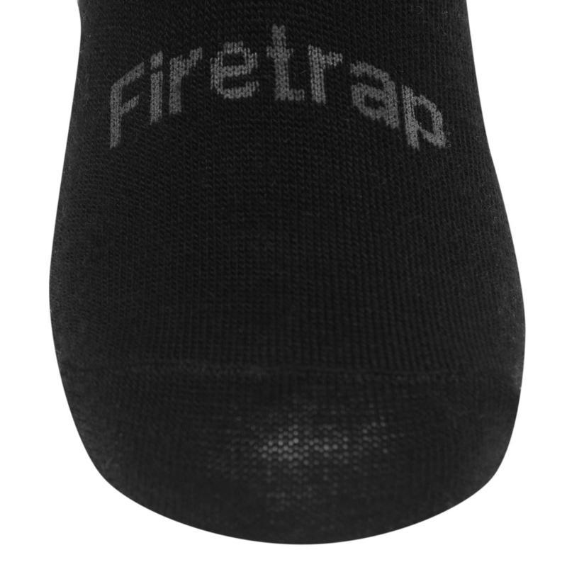 Ponožky Firetrap Invisible 3 Pack Socks Mens Black