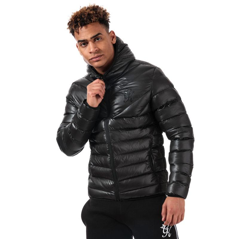 Gym King Mens Reign Hooded Puffa Jacket Black