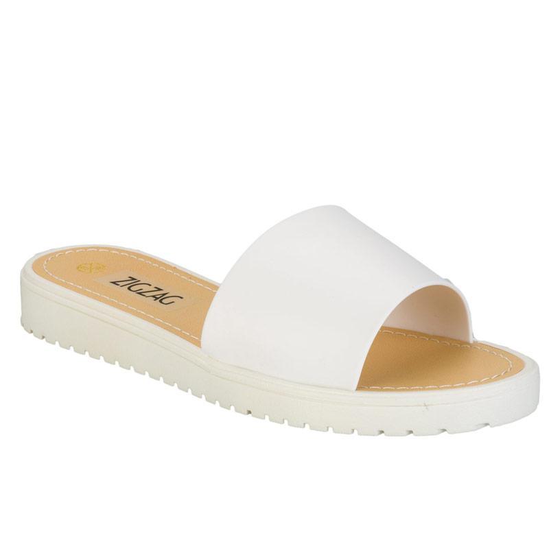 Boty Zig Zag Womens Slide Sandals White