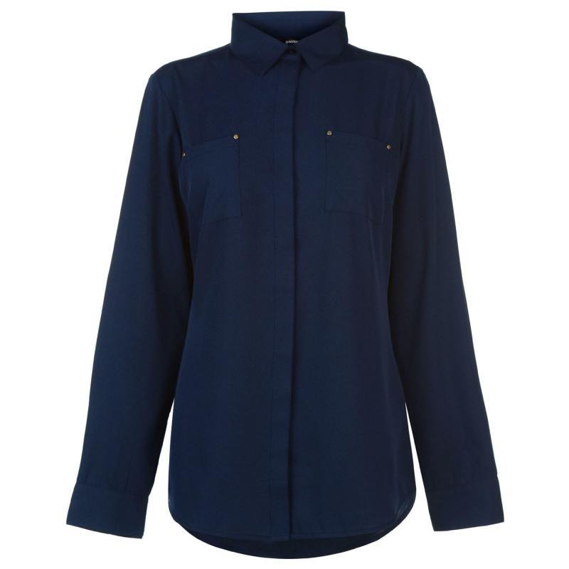 Košile Golddigga Long Sleeve Shirt Ladies Navy