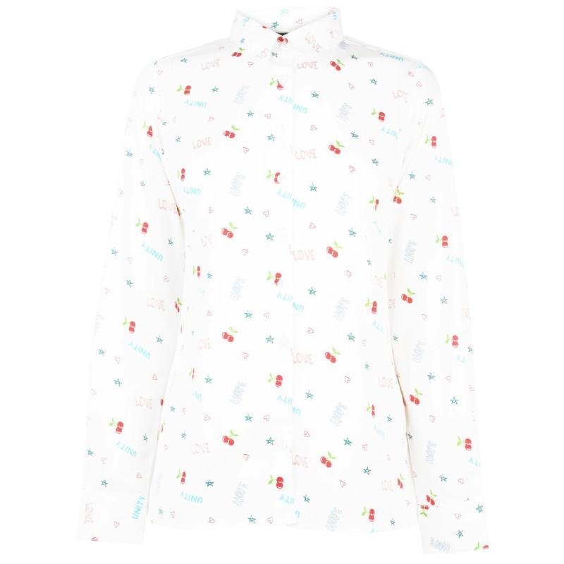 Košile Golddigga Scribble Shirt Ladies White AOP