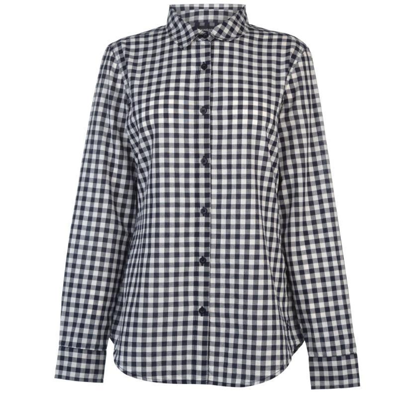 Košile Kangol Long Sleeve Check Shirt Ladies White/Black chk