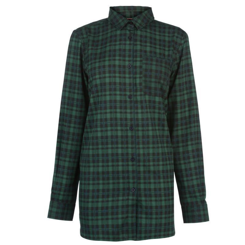 Košile Kangol Long Sleeve Check Shirt Ladies Green/Black