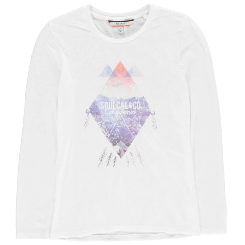SoulCal Long Sleeved Tee Shirt Junior Girls White