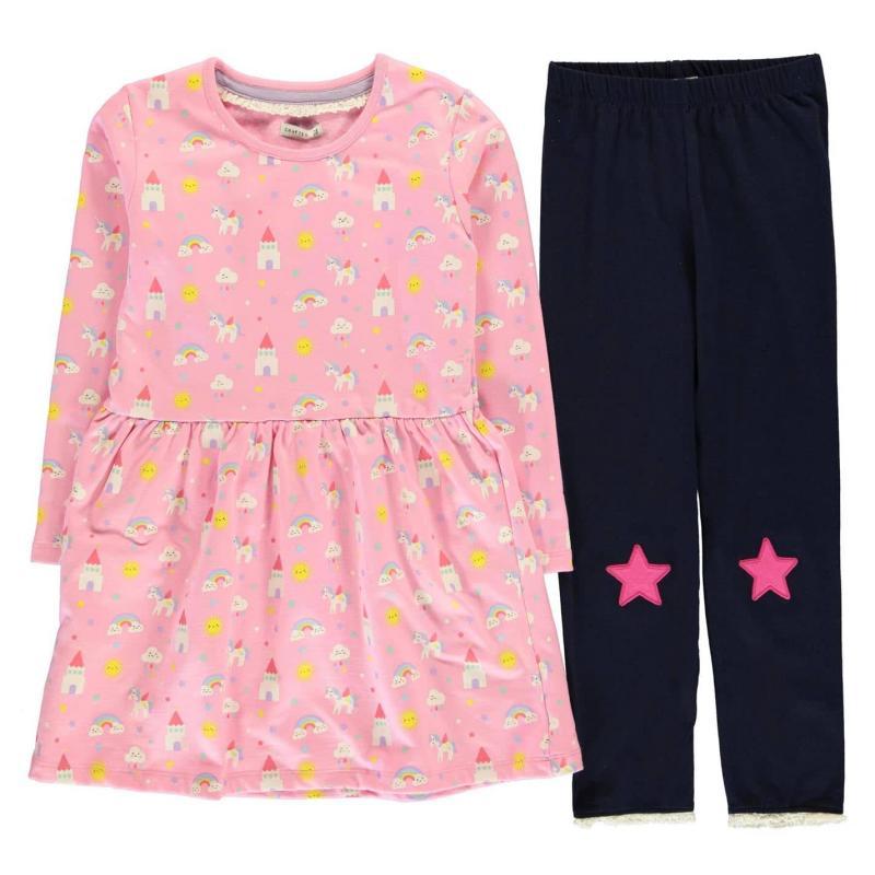 Šaty Crafted Essentials 2 Piece Sweet Dreams Dress Girls Junior Pink Unicorn