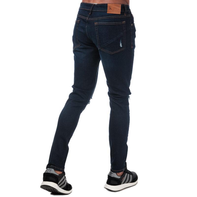 Ringspun Mens Hercules Ripped Skinny Fit Jeans Denim