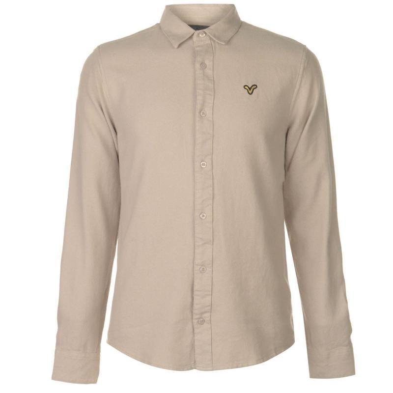 VOI Brushed Cotton Shirt Mens Grey Marl