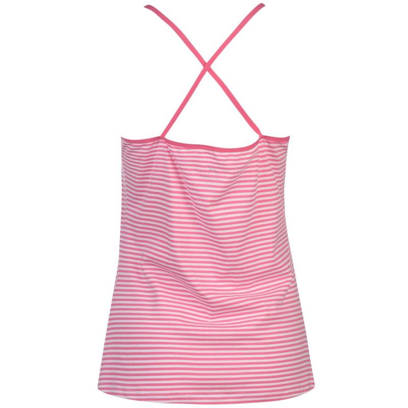 Pyžama Joe Boxer Stripe Vest and Brief Set Ladies Pink Stripe