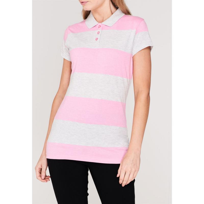 Polokošile Lee Cooper Block Stripe Polo Shirt Ladies Grey M/Pink M