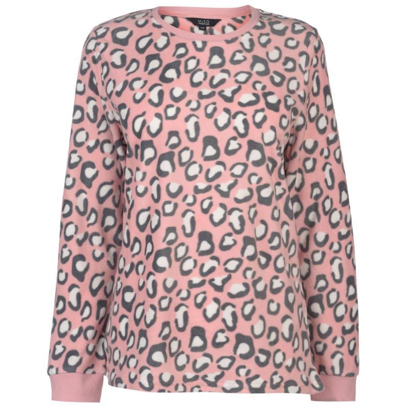 Pyžama Miso Micro Fleece PJ Set Ladies Pink Leopard