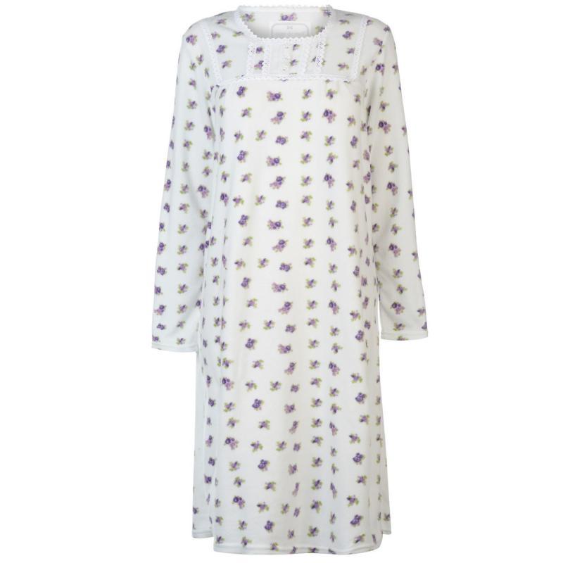 Pyžama Cote De Moi Fleece Night Dress Ladies Cream Floral