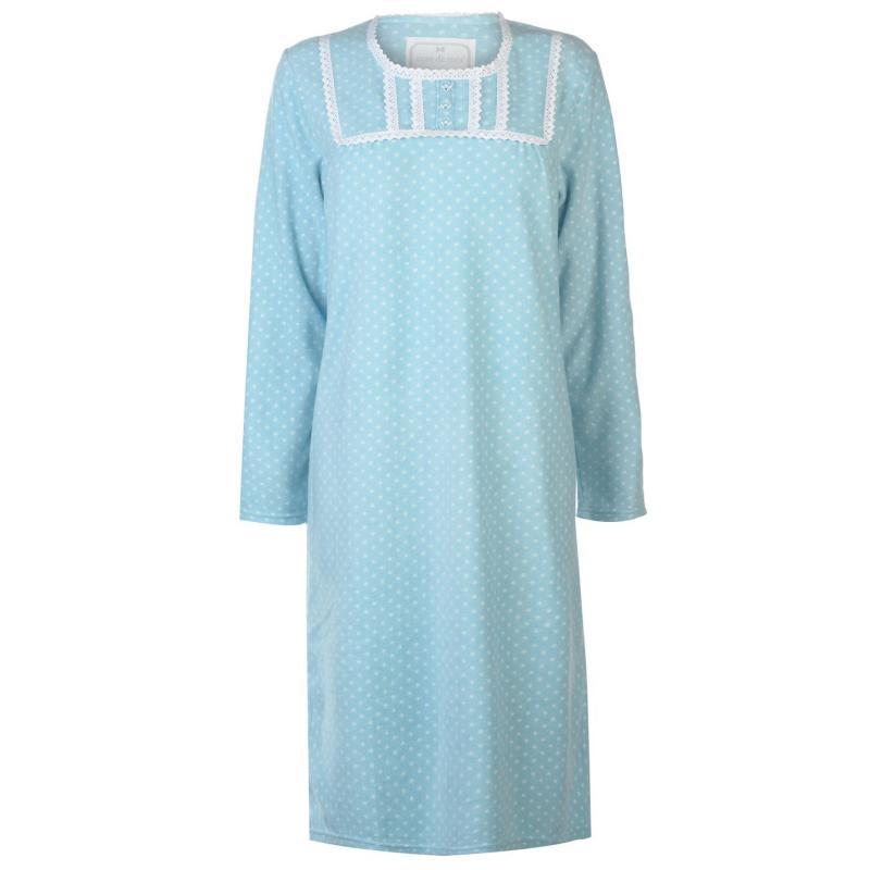 Pyžama Cote De Moi Fleece Night Dress Ladies Aqua Spots