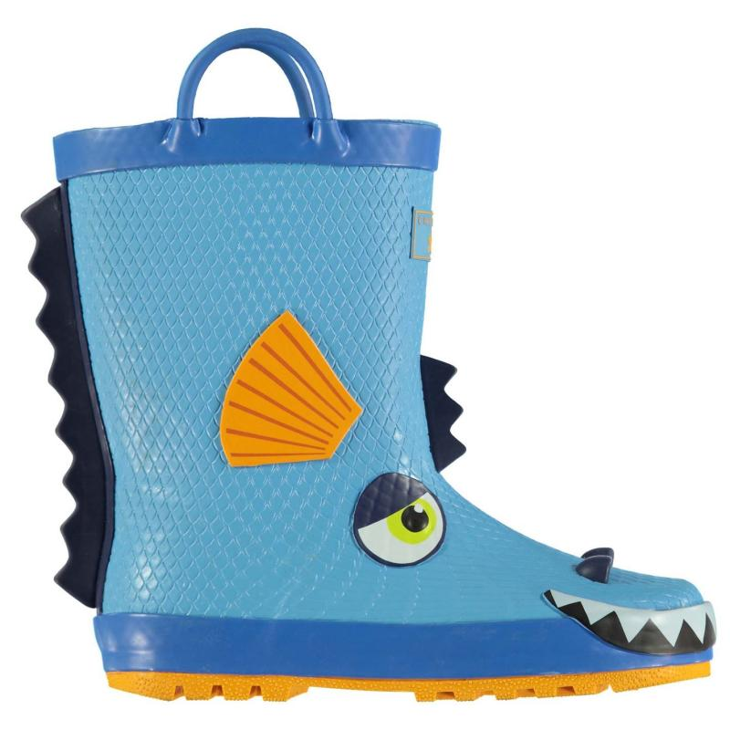Crafted Essentials 3D Infants Wellies Blue Dino