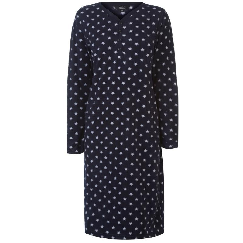 Pyžama Miso Fleece Night Dress Ladies Navy Stars