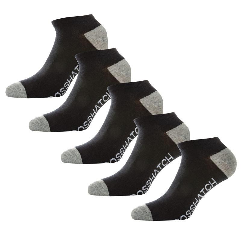 Ponožky Crosshatch Mens Chelms 5 Pack Trainer Socks Black