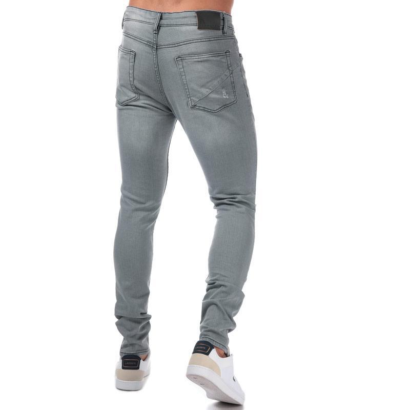 Ringspun Mens Hercules Ripped Skinny Fit Jeans Grey