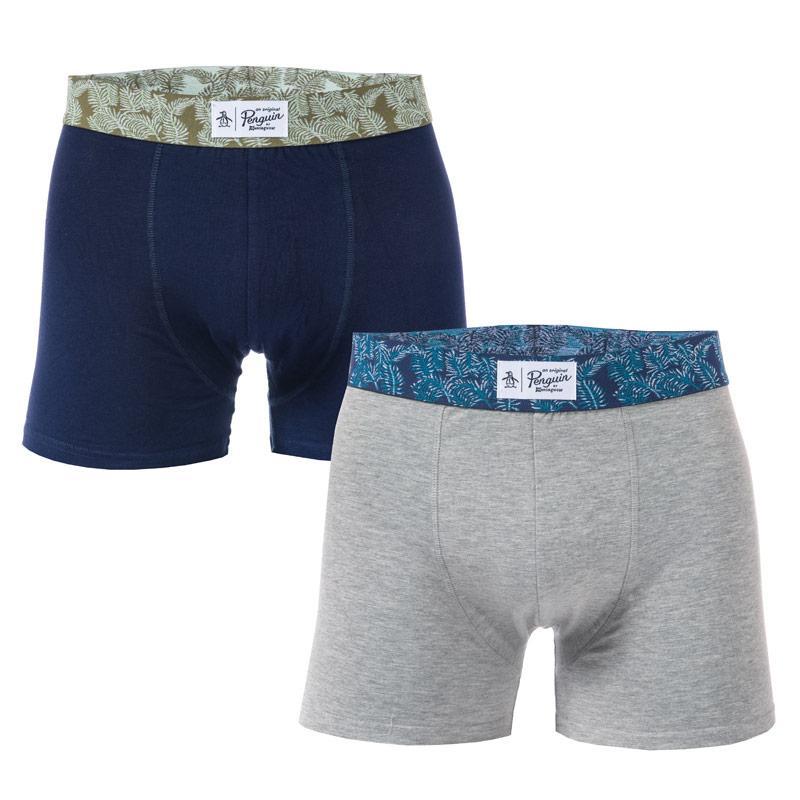 Spodní prádlo Original Penguin Mens Palm Waistband 2 Pack Boxer Shorts Navy Grey