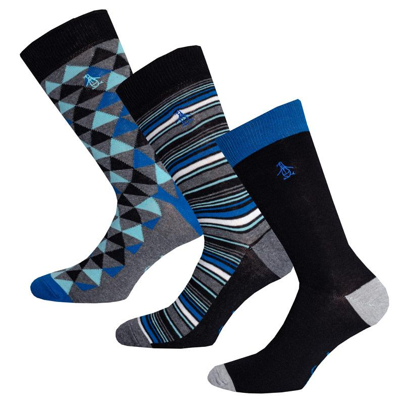 Ponožky Original Penguin Mens Triangle Striped 3 Pack Socks Blue