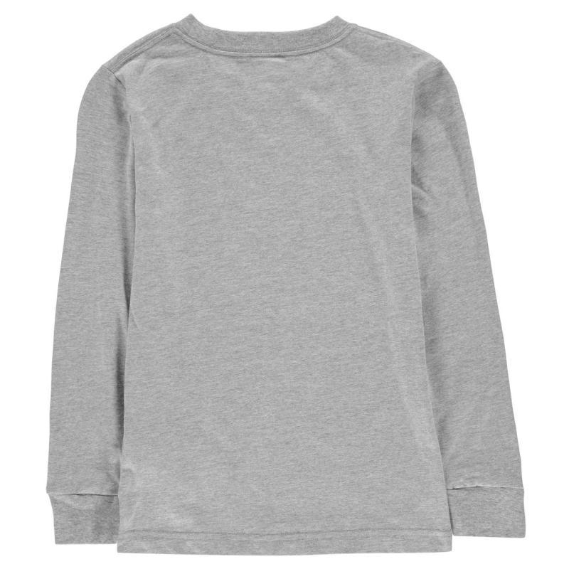 Tričko Converse Chuck Long Sleeved T Shirt Junior Boys Dark Grey/Black