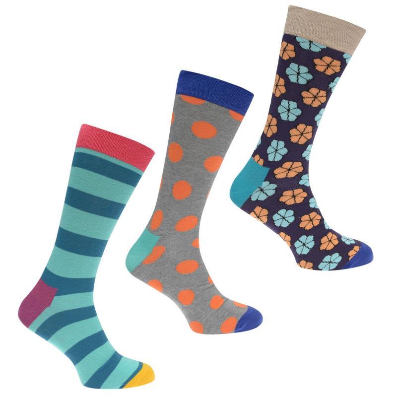 Ponožky Happy Socks 3 Pack Pattern Socks Pnk/Blu/Gry