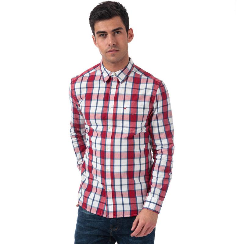Wrangler Mens 1 Pocket Checked Shirt Red