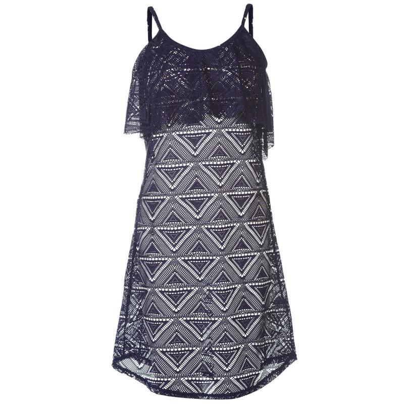 Plavky Rock and Rags Mesh Beach Dress Ladies Navy