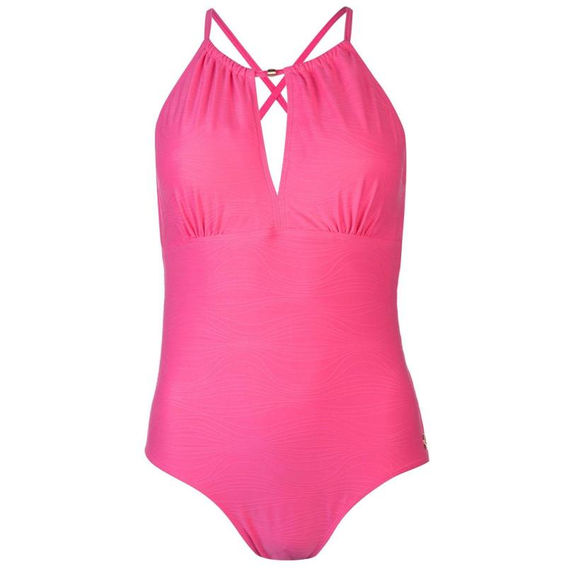 Plavky Rock and Rags Tummy Control Halter Swimsuit Ladies Pink