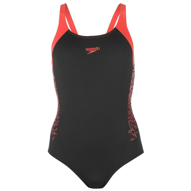 Plavky Speedo Boom Splice Muscleback Swimsuit Ladies Black/Red
