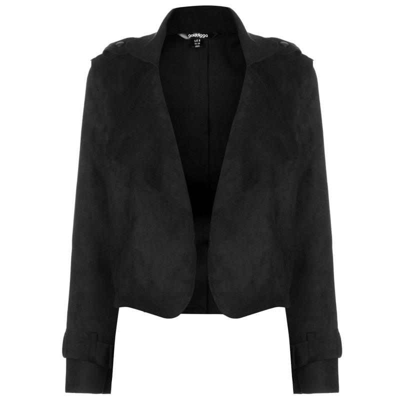 Golddigga Crop Suede Jacket Ladies Black