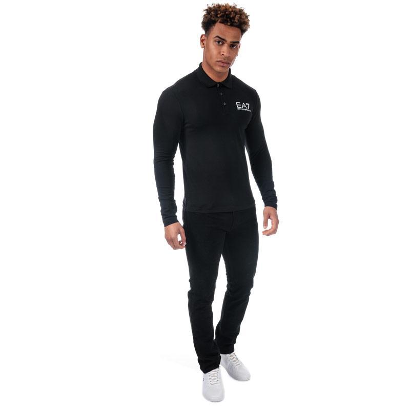 Emporio Armani EA7 Mens LS Core ID Polo Shirt Black