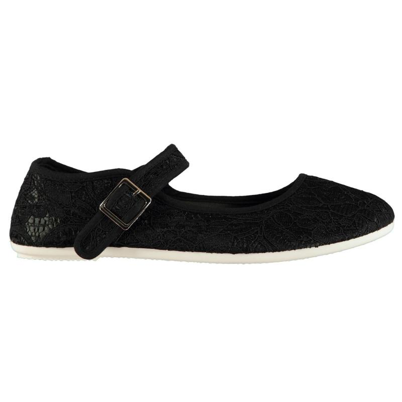 Slazenger Canvas Mary Jane Ladies Shoes Black Broderie