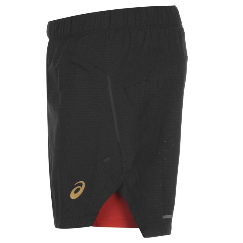 Asics Cool 2 In 1 Running Shorts Mens Black/Red