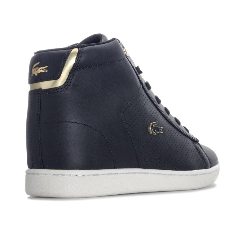 Lacoste Womens Carnaby Evo Mid Wedge Trainers Black Gold