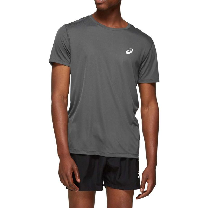 Asics Core Short Sleeve Running T Shirt Mens DARK GREY