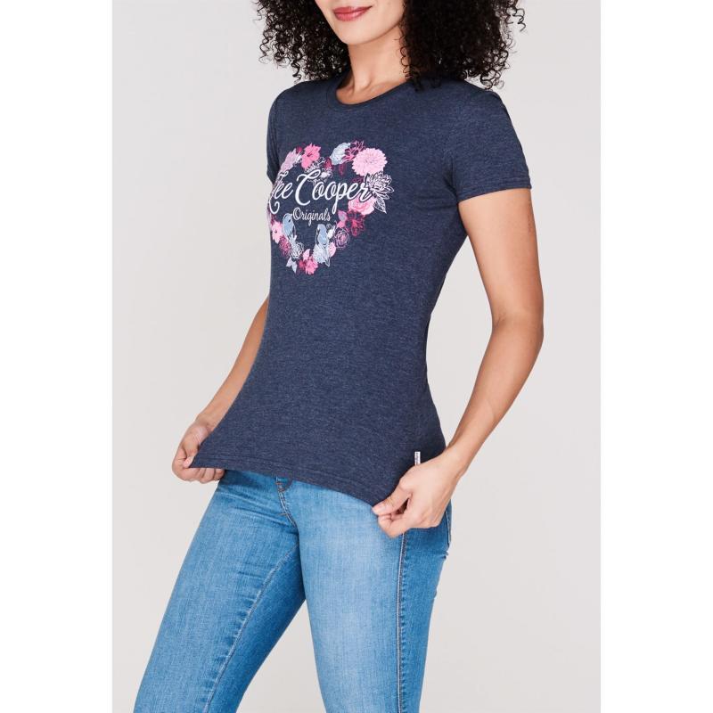 Tričko Lee Cooper Classic T Shirt Ladies Navy Marl