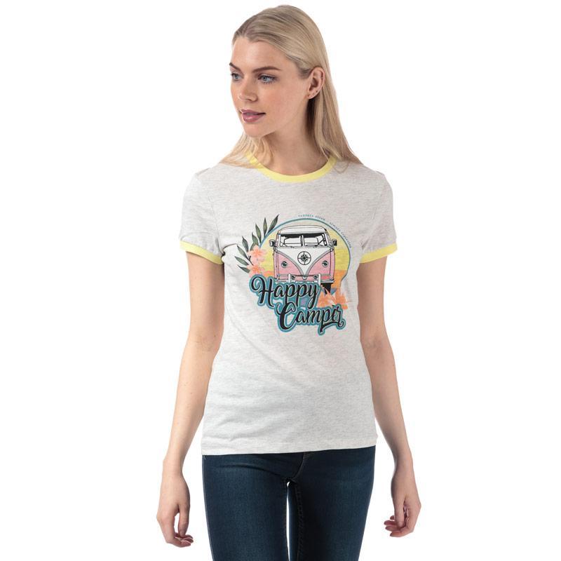 Brave Soul Womens Campervan T-Shirt Grey Marl