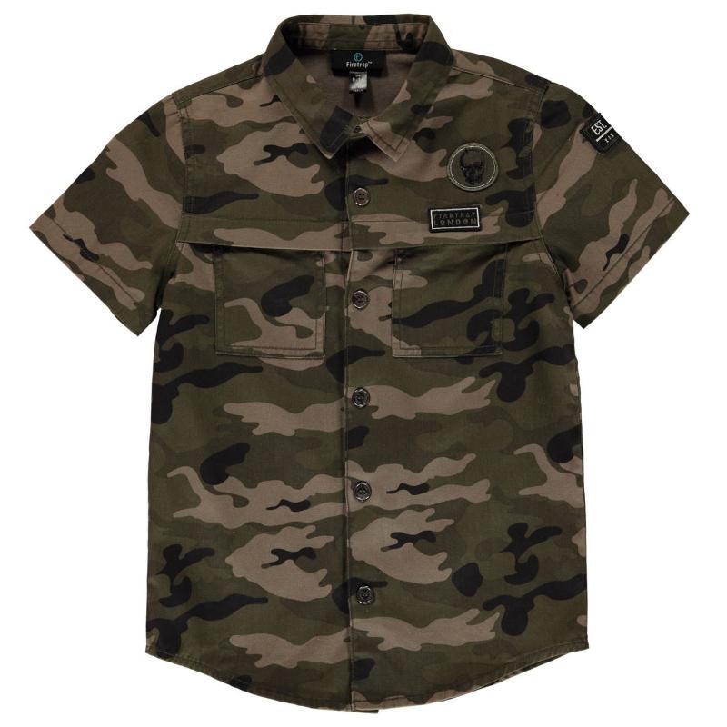 Košile Firetrap Cargo Shirt Junior Boys Camo AOP